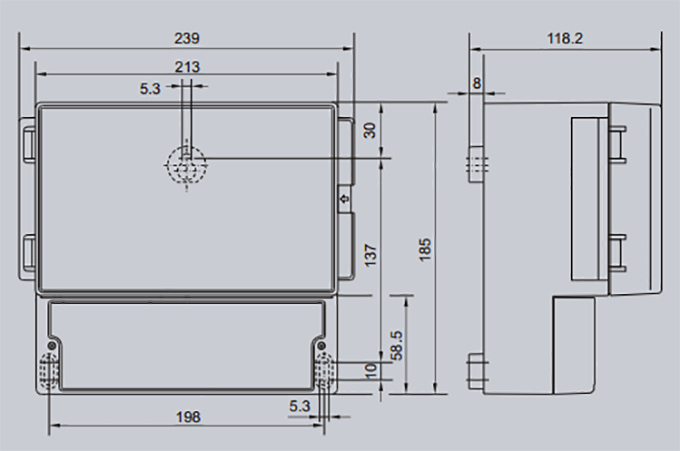 OCM-F installation and dimensions
